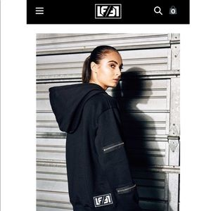 LF PULLOVER HOODIE WITH EXPOSED ZIPPERS BLACK
